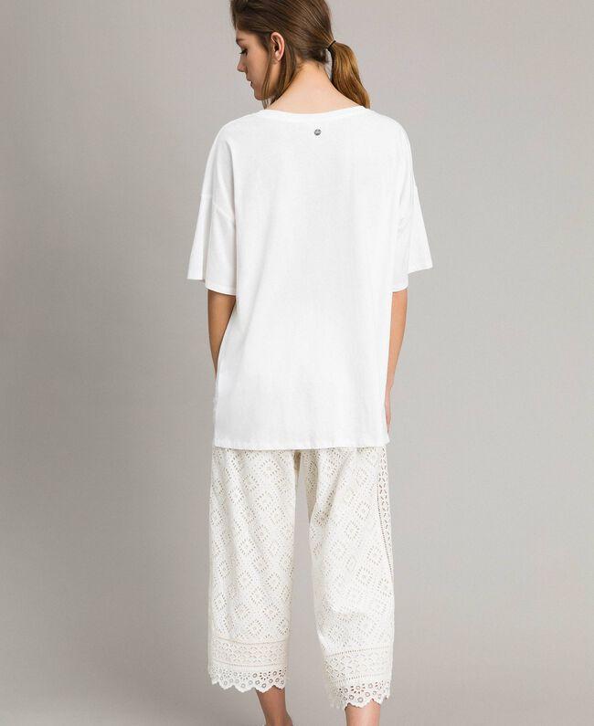 Maxi-T-Shirt mit Spitze Zweifarbig Cremefarben / Ecru Frau 191ST2083-03