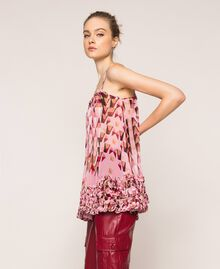"""Printed georgette top with micro frills """"Candy"""" Pink Geometric Print Woman 201ST2184-03"""