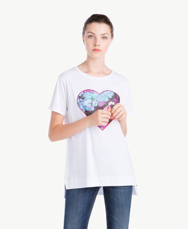 T-Shirt mit Herzprint Weiß Frau NS82AP-01