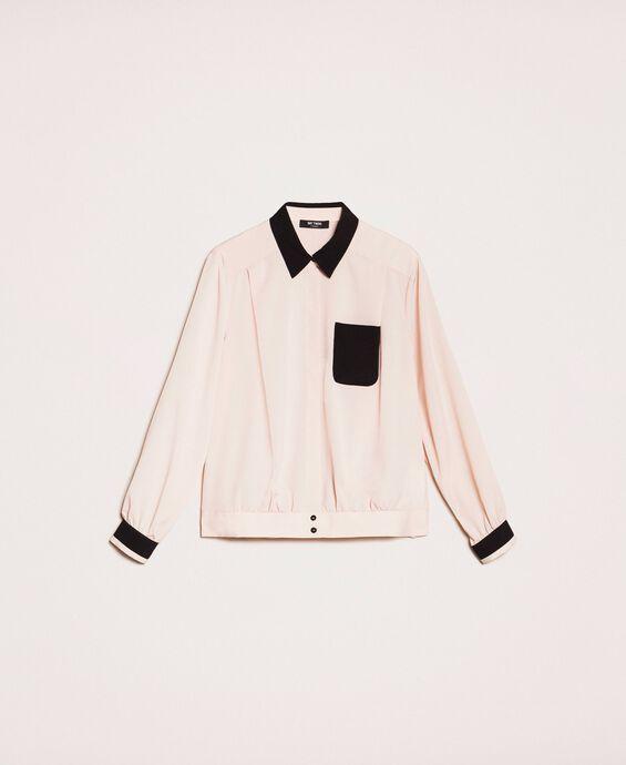 Camicia in crêpe de Chine con arricciatura