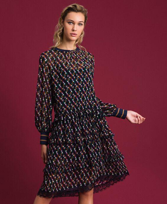 Платье из жоржета с набивным рисунком с воланом