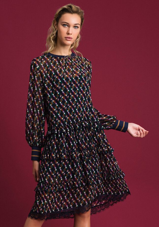 Printed georgette dress with frills