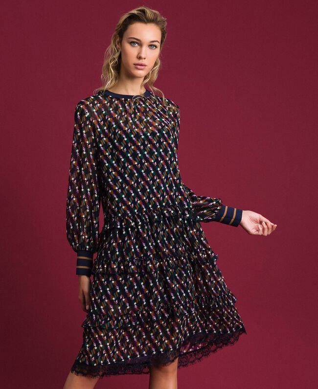 Printed georgette dress with frills Fox Geometric Print Woman 192ST2152-01