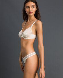 Tanga de tul y encaje Crema Mujer 192LI6188-02