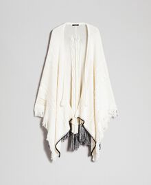 Openwork poncho with fringes and tassels Vanilla / Black Woman 192MP3040-0S