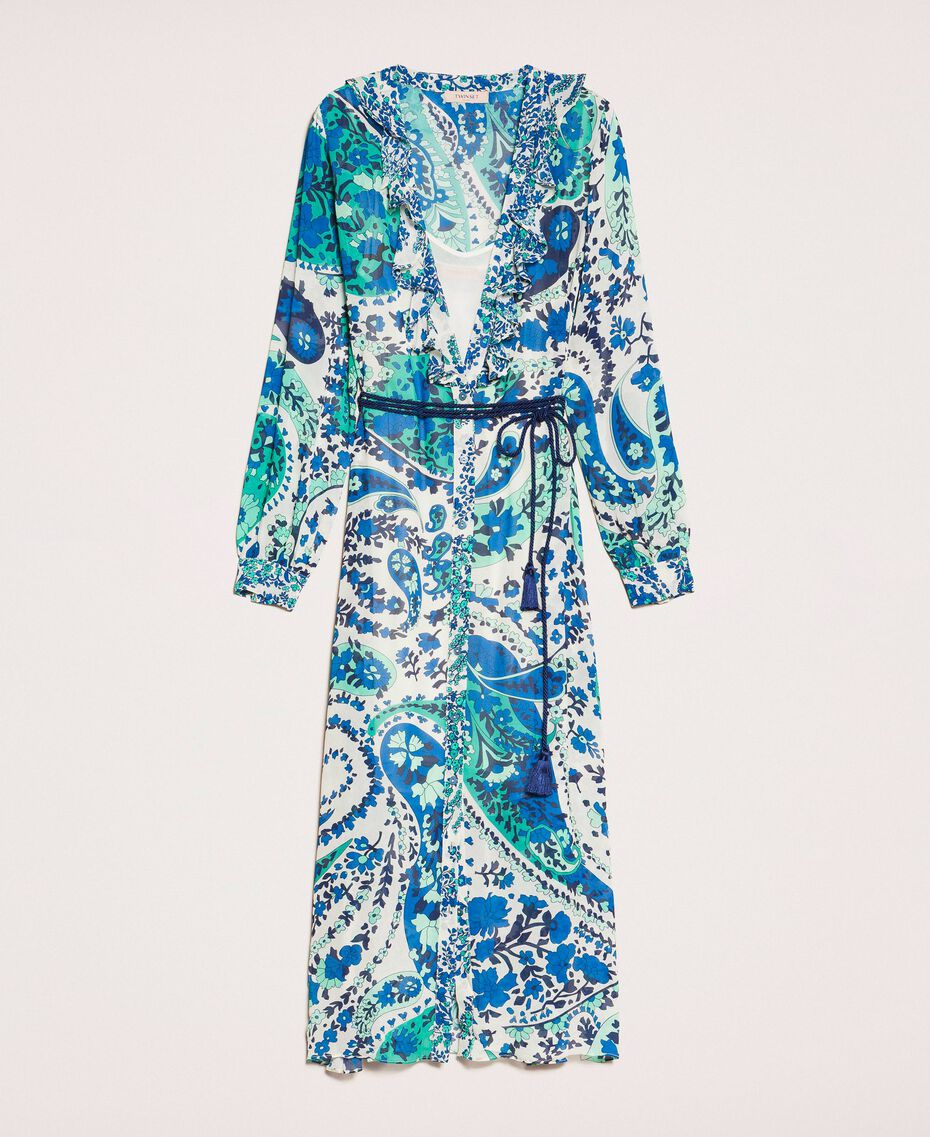 Robe longue en crêpe georgette imprimé paisley Imprimé Paisley Saphir / Bleu Femme 201TP2533-0S