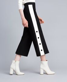 "Pantaloni cropped in punto Milano Bicolor Nero / Bianco ""Neve"" Donna PA821P-02"