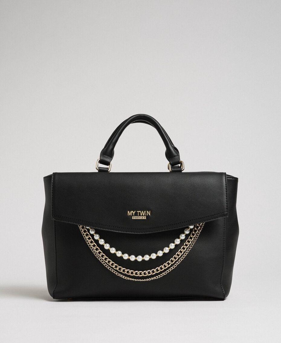 Shopper aus Lederimitat mit Perlen und Kettchen Schwarz Frau 192MA7053-02