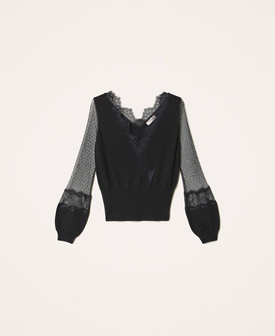 Jersey con tul y encaje Negro Mujer 202TP3381-0S