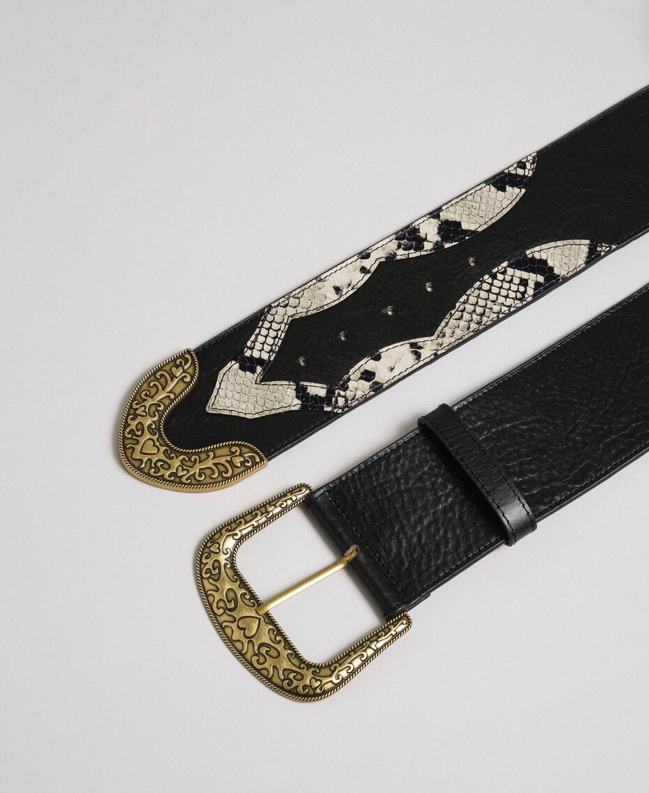 "Leather belt with decorative buckle ""Anthracite"" Grey Python Print Woman 192TO5346-02"