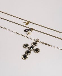 Multi-string rosary necklace with pendants and cross Black Woman 191TA4317-02