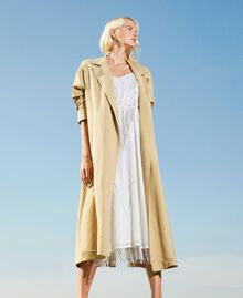 "Linen blend trench coat ""Cuban Sand"" Pink Woman 211TT2580-02"