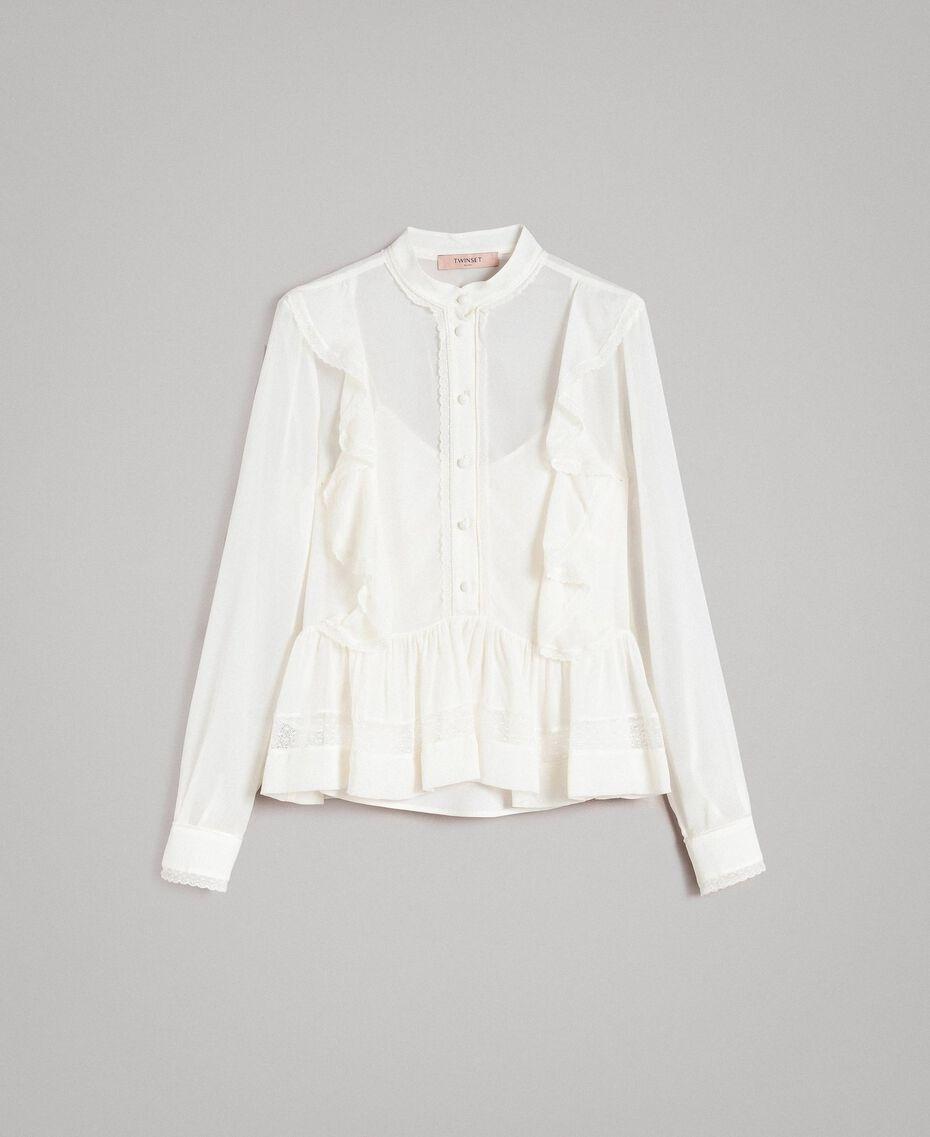 Georgette-Bluse mit Spitze Weiß Schnee Frau 191TP2372-0S