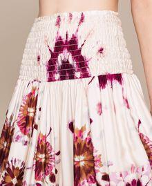 Printed satin skirt-dress Flirty Rose Unevenly Dyed Print Woman 201LB2GLL-03