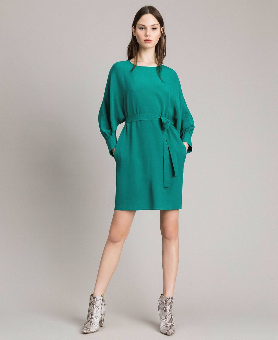 "Silk blend tunic dress ""Pepper Green"" Woman 191TP2147-01"