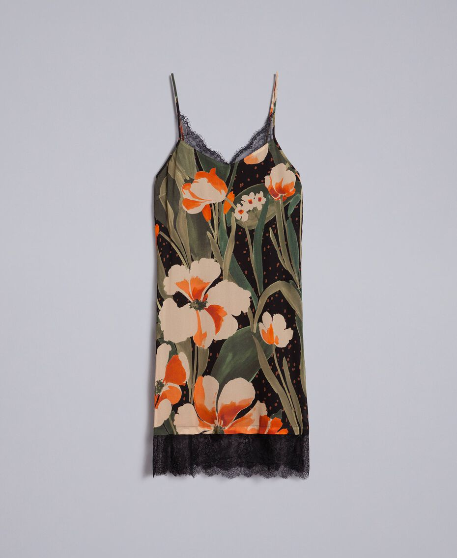 Printed georgette slip dress Maxi Black Tulip Print Woman TA828V-0S