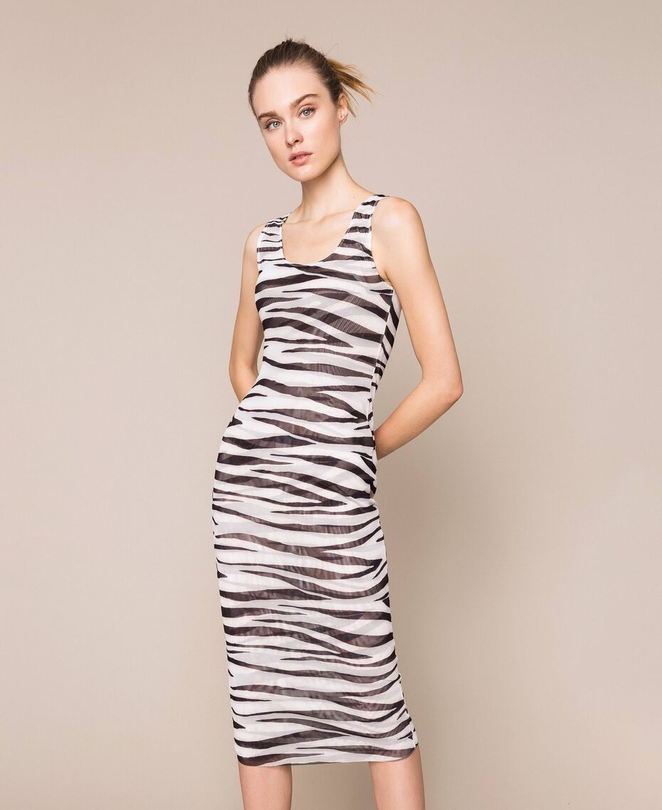 Animal print tulle sheath dress Zebra Print Woman 201TQ201D-01