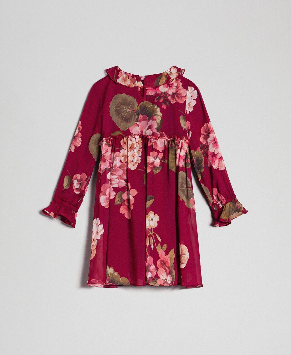 Floral print georgette dress Beet Red Geranium Print Child 192GB2720-0S