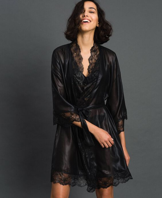 Laminated chiffon dressing gown