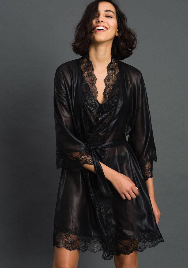 Laminated chiffon dressing gown
