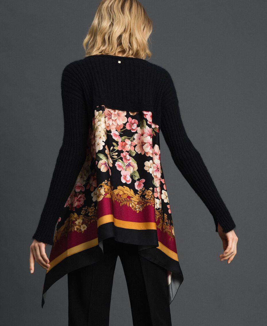 Pullover aus Mohair und bedrucktem Twill Schwarz / Foulardprint Frau 192TP3062-02