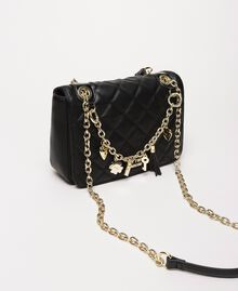 Faux leather shoulder bag with charms Black Woman 201MA7043-01