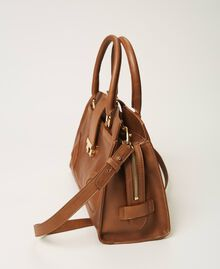 Leather shopper with buckle Leather Brown Woman 202TB7124-01