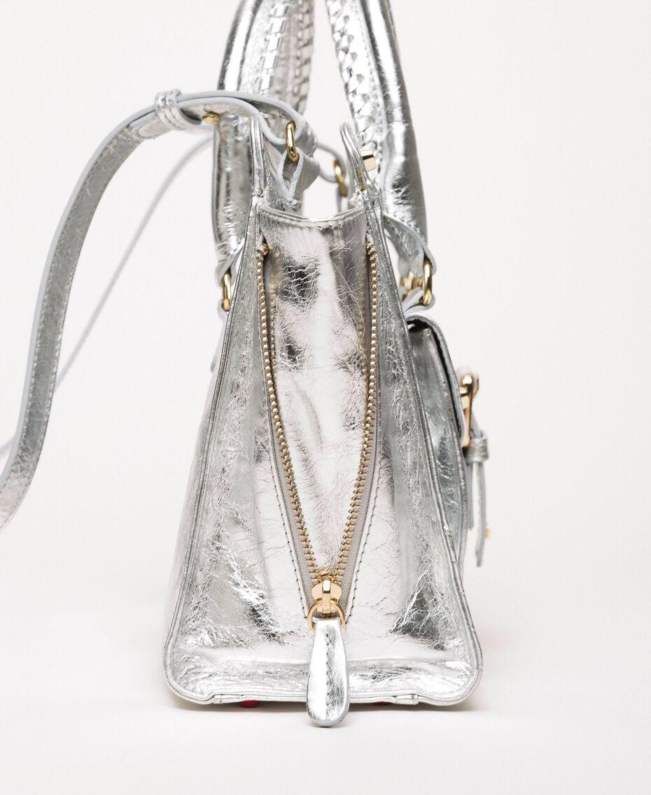 """Handtasche """"Rebel"""" aus Leder mit Tasche Grau Titan Frau 201TA723Z-02"""