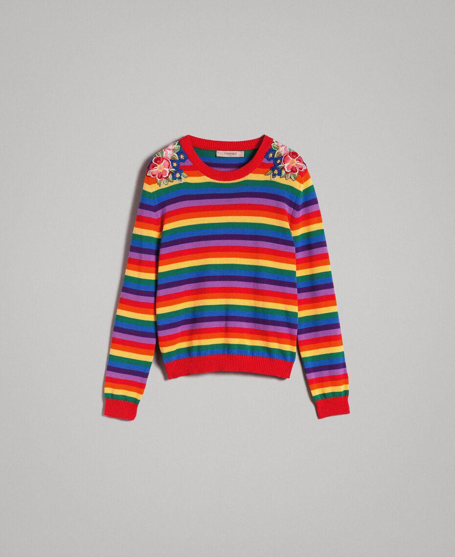 Pullover mit mehrfarbigen Streifen und Blumenapplikationen Regenbogenstreifen Frau 191TP3013-0S