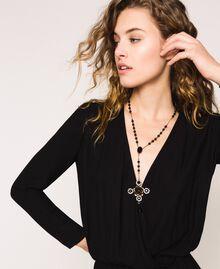 Ожерелье-четки с крестом и подвеской Черный женщина 201TA4309-0S