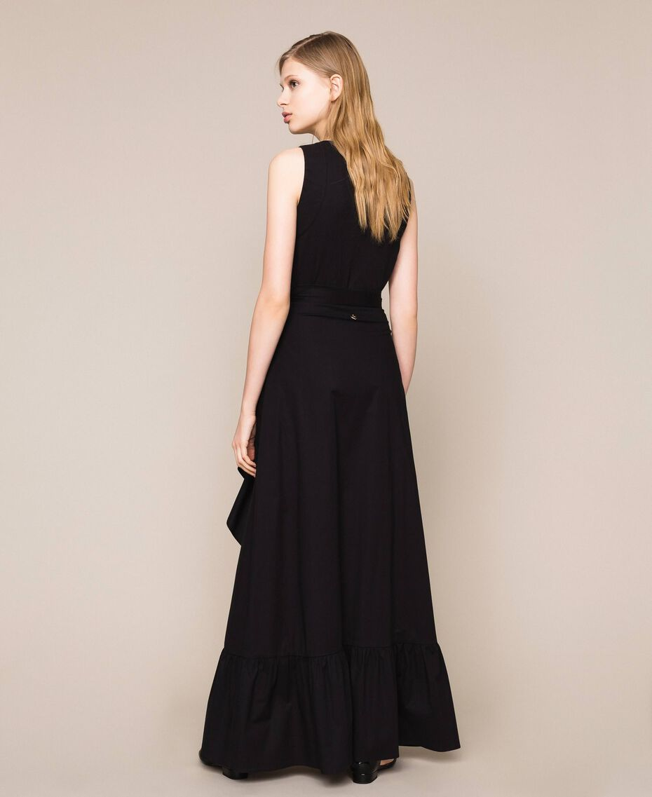 Long poplin skirt with ruffles Black Woman 201TT2036-03