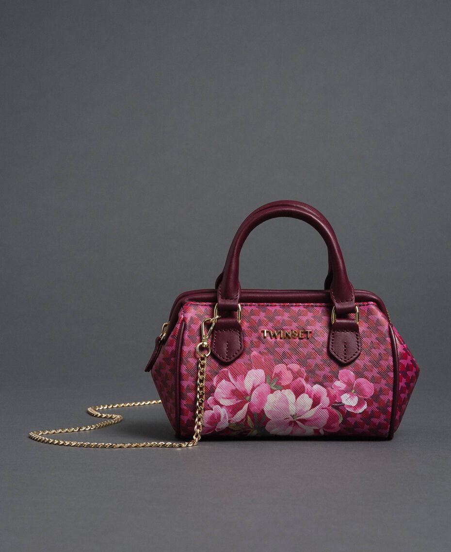 Printed faux leather mini bowler bag Beet Red Butterfly Floral Print Woman 192TA7018-02