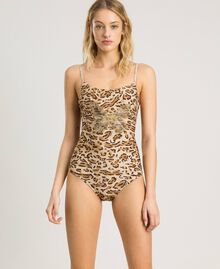 "Leopard print one-piece underwired swimsuit ""Petra Sandstone"" Brown Animal Print Woman 191LMMUXX-0S"