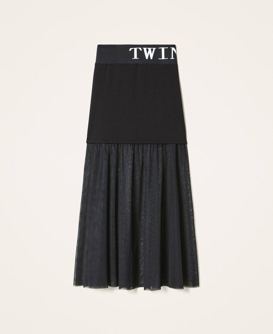 Falda larga con tul Negro Mujer 202LI2NMM-0S