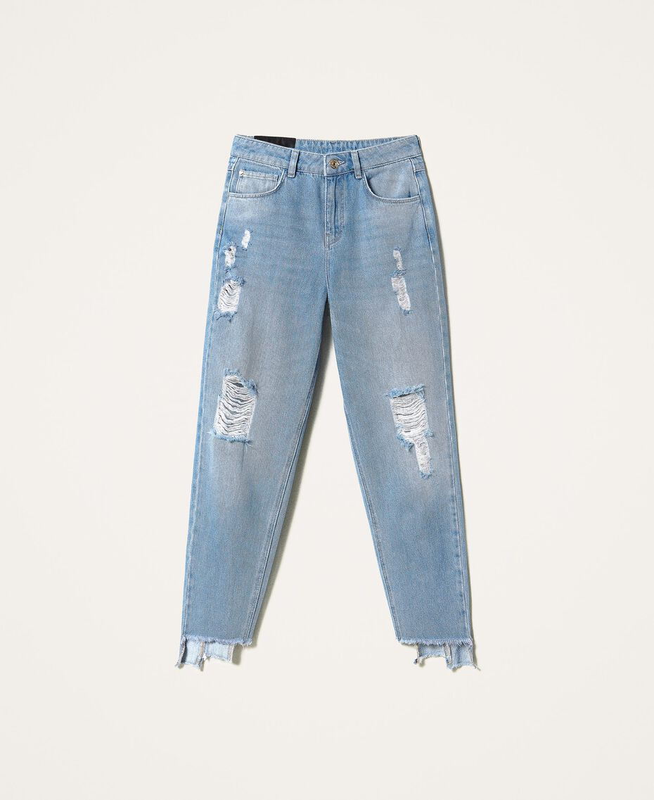 Стандартные джинсы с прорехами Деним Светлый женщина 202MT2310-0S