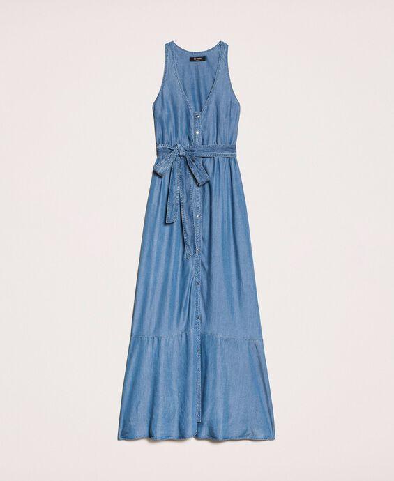 Long flowing denim dress