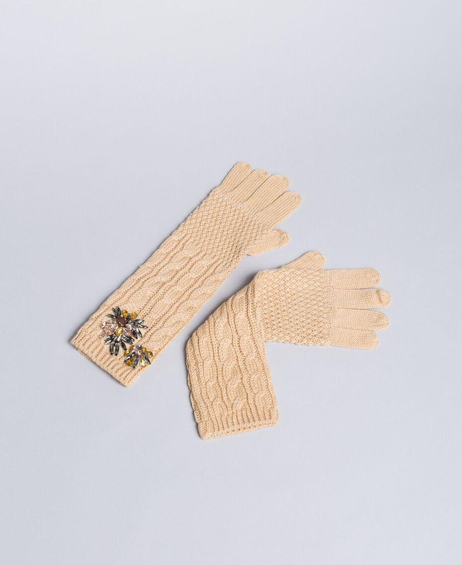 Lange Handschuhe mit Zopfmuster und Strass Hellbeige Frau OA8T6A-01