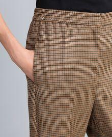 Pantalon de jogging en laine mélangée Jacquard Petits Carreaux Orange Brûlée Femme TA821Q-04