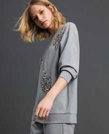 Sweatshirt with stone and pearl embroidery Melange Grey Woman 192LI2UGG-02