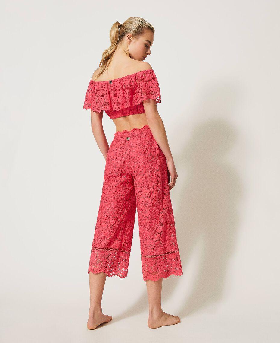 "Macramé lace cropped top ""Cherry Pink"" Woman 211LM2KNN-03"