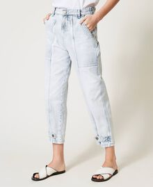 "Cargo jeans with frog fasteners Embroidered ""Beach"" Blue Woman 211TT243B-03"