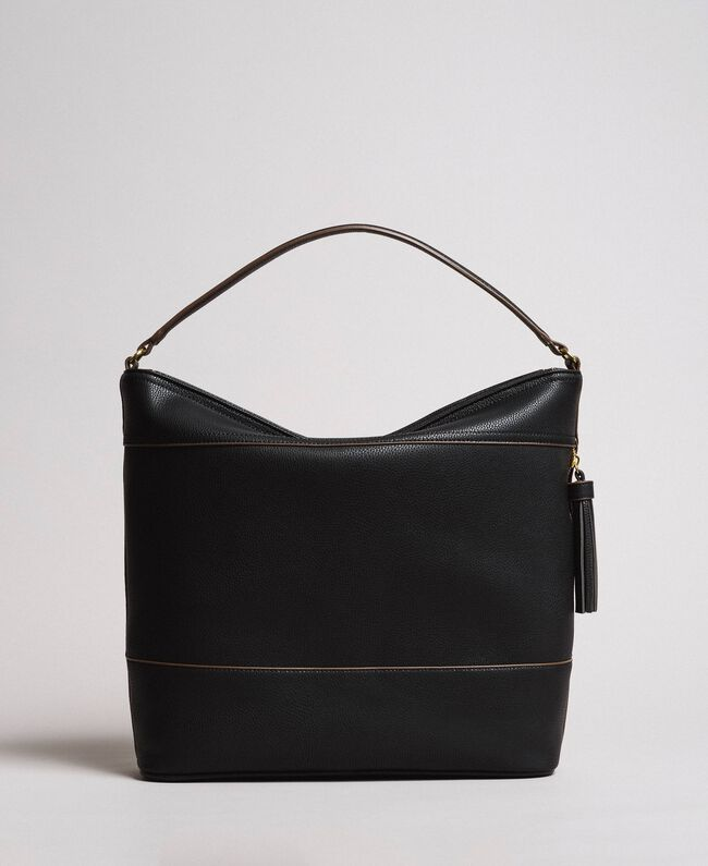 Faux leather hobo bag with tassel Black Woman 191TA7600-04