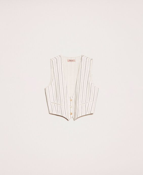 Pin stripe linen cropped waistcoat