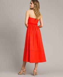 Poplin long bustier dress Granadine Red Woman 191TT2247-04