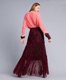 Valencienne lace long skirt Bordeaux Woman PA82FZ-03