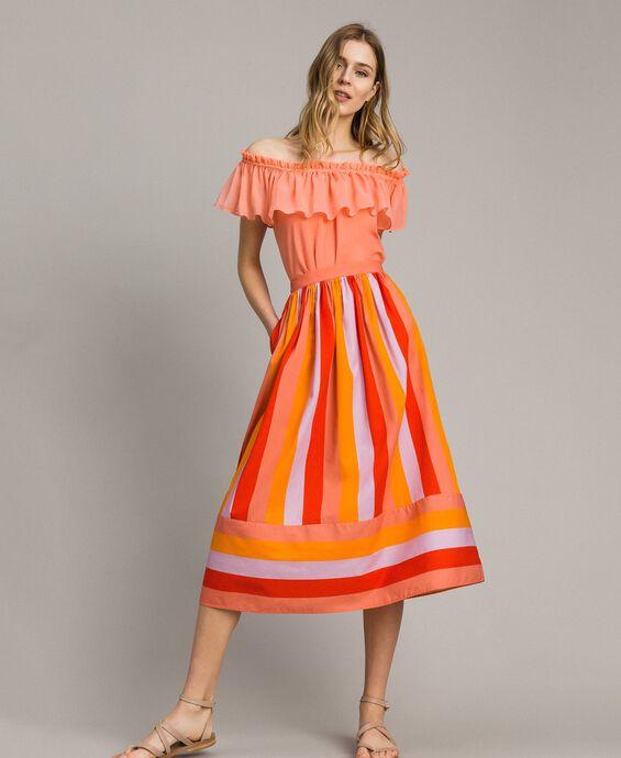 Multicolour striped poplin skirt