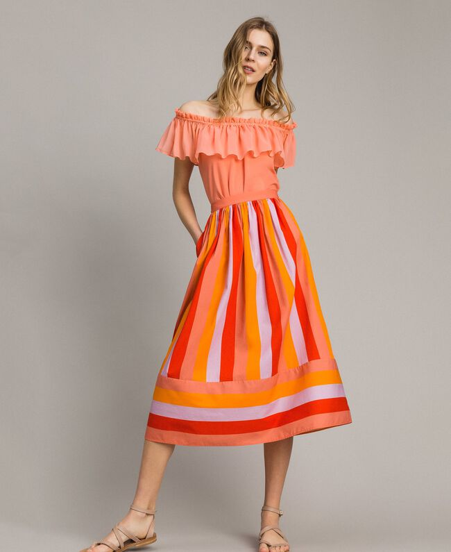 Multicolour striped poplin skirt Multicolour Grenadine Print Woman 191TT2413-01