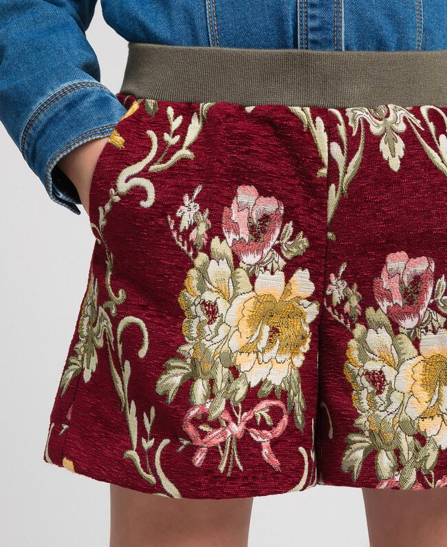 Short en brocart floral Jacquard Brocart Vin Rubis Enfant 192GJ2445-04