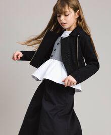 Fleece biker jacket with rhinestones Black Child 191GJ2460-02