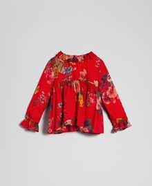 Bluse aus Georgette mit Blumenprint Feldblumenprint Granatapfel Kind 192GB2721-01